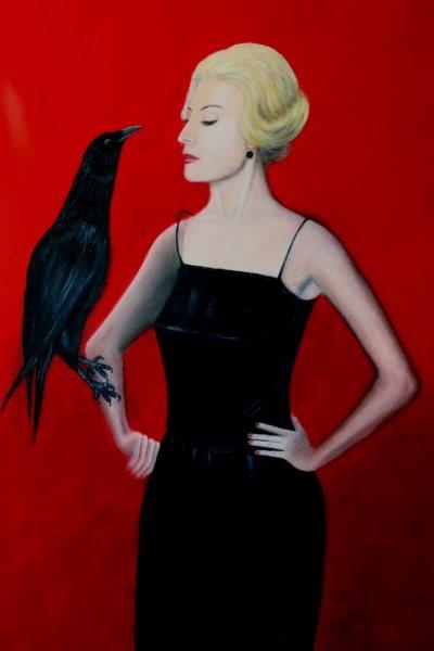Woman with raven 80 x 120 cm