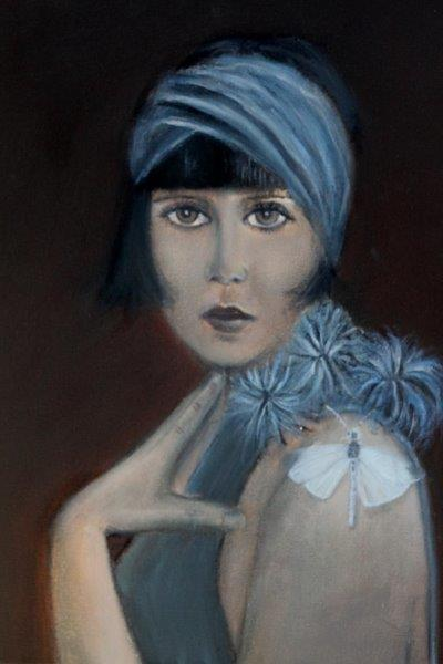 Lady in blue with the Wood white 30 x 40 cm
